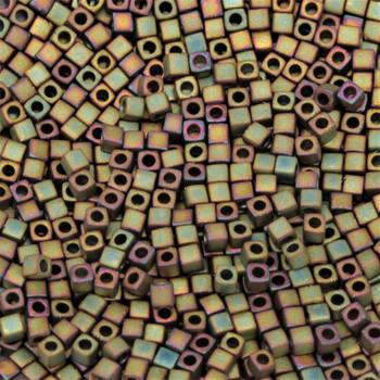 1.8mm Miyuki Cube Seed Beads -- Matte Metallic Khaki Iris