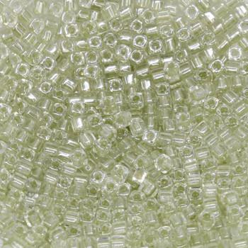 1.8mm Miyuki Cube Seed Beads -- Crystal / Sage Lined