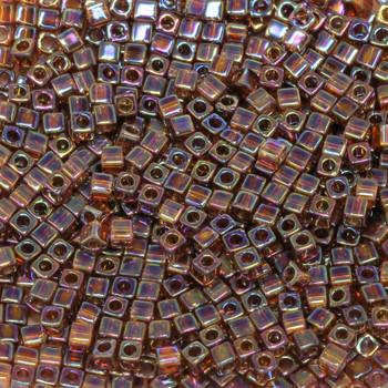 1.8mm Miyuki Cube Seed Beads -- Dark Topaz AB