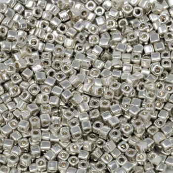 1.8mm Miyuki Cube Seed Beads -- Galvanized Silver