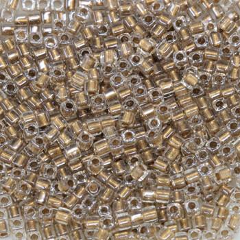 1.8mm Miyuki Cube Seed Beads -- Crystal / Bronze Lined