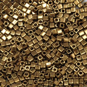 1.8mm Miyuki Cube Seed Beads -- 457L Metallic Light Bronze