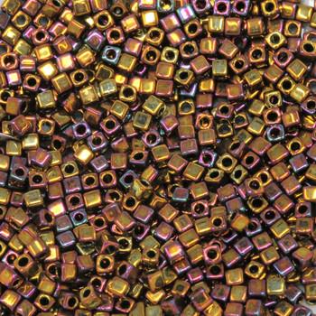 1.8mm Miyuki Cube Seed Beads -- Metallic Gold Bronze Magenta