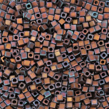 1.8mm Miyuki Cube Seed Beads -- F460C Dark Bronze Iris Matte