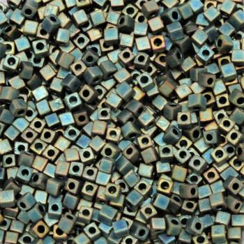 1.8mm Miyuki Cube Seed Beads -- Green Iris Matte