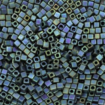 1.8mm Miyuki Cube Seed Beads -- Blue Iris Teal Matte
