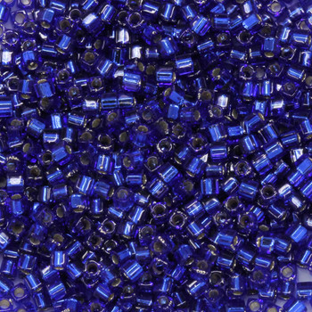 1.8mm Miyuki Cube Seed Beads -- 20 Sapphire / Silver Lined