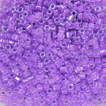 1.8mm Miyuki Cube Seed Beads -- Crystal / Violet Lined