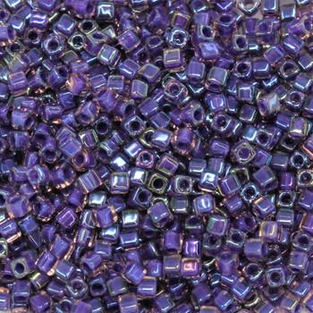 1.8mm Miyuki Cube Seed Beads -- Crystal / Purple Lined
