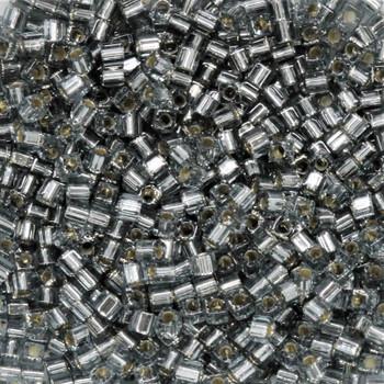 1.8mm Miyuki Cube Seed Beads -- 21 Black Diamond / Silver Lined