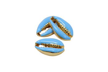Gold 12x19mm Blue Plated Zinc Alloy Cowrie Shell Bead