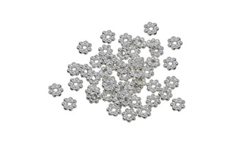 Bright Silver Plated 4mm Daisy - 50 Pieces