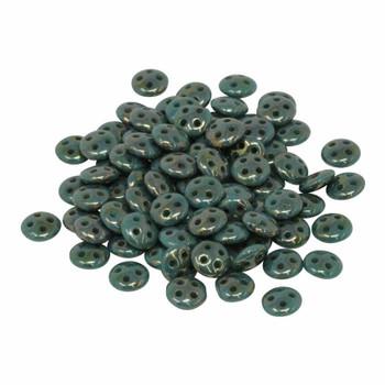 CzechMates® QuadraLentil Beads -- Bronze Picasso Persian Turquoise
