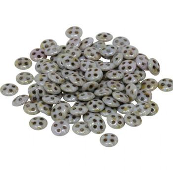 CzechMates® QuadraLentil Beads -- Opaque Green Luster