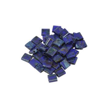 5mm Tila Beads -- Opaque Blue Picasso