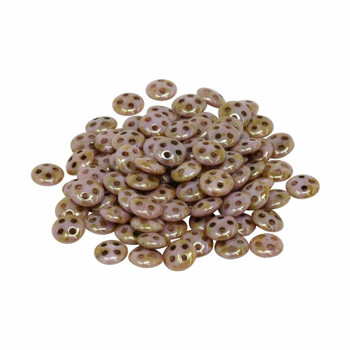CzechMates® QuadraLentil Beads -- Opaque Rose / Gold Topaz Luster