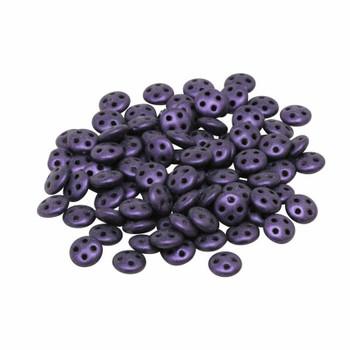 CzechMates® QuadraLentil Beads -- Metallic Purple Suede