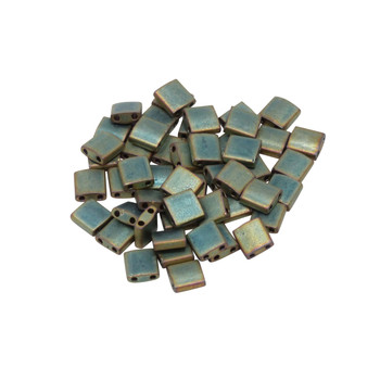 5mm Tila Beads -- Metallic Khaki Iris Matte