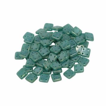 CzechMates® QuadraTile Beads -- Atlantis Green Luster Iris