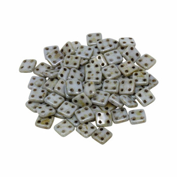 CzechMates® QuadraTile Beads -- Opaque Green Luster