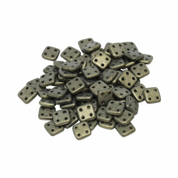 CzechMates® QuadraTile Beads -- Metallic Gold Suede