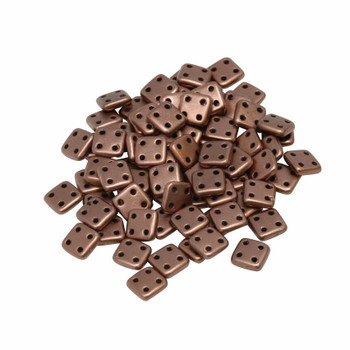 CzechMates® QuadraTile Beads -- Metallic Bronze Copper Matte