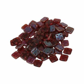 CzechMates® QuadraTile Beads -- Siam Ruby Twilight