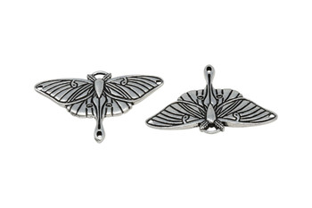 Luna Moth Pendant Link - Silver Plated