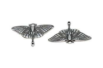 Luna Moth Pendant Link - Silver Plated