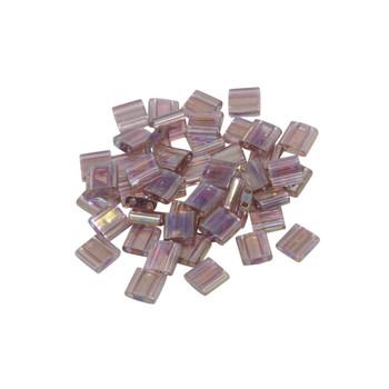 5mm Tila Beads -- Transparent Smoky Amethyst AB