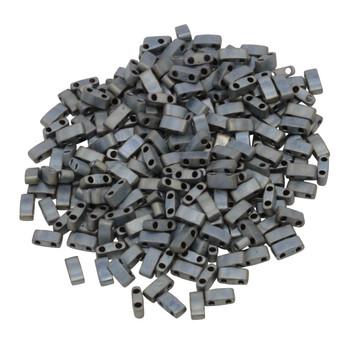 1/2 Cut 5mm Tila Beads -- Metallic Silver Grey Matte