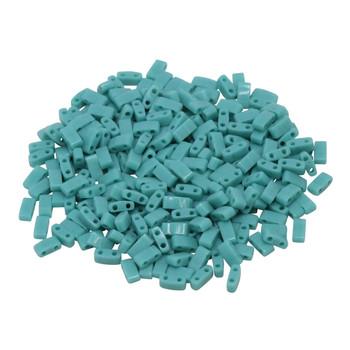 1/2 Cut 5mm Tila Beads -- Opaque Green Turquoise