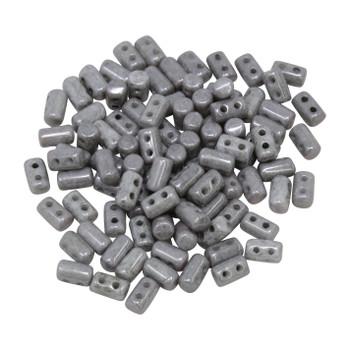 Matubo Czech Glass Rulla Beads -- Opaque Grey Luster