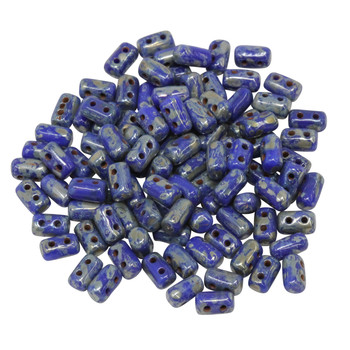 Matubo Czech Glass Rulla Beads -- Picasso Opaque Blue
