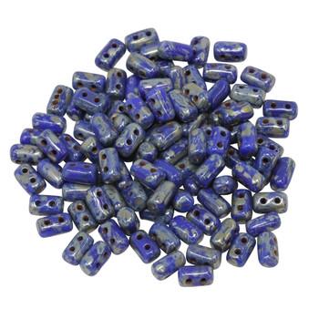 Matubo Czech Glass Rulla Beads -- Picasso Opaque Blue