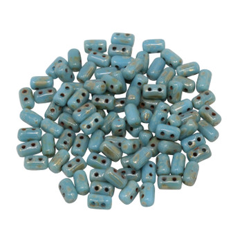 Matubo Czech Glass Rulla Beads -- Picasso Blue Turquoise