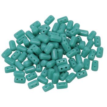 Matubo Czech Glass Rulla Beads -- Green Turquoise
