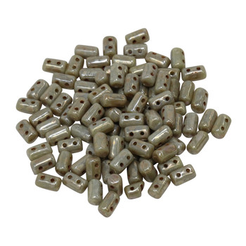 Matubo Czech Glass Rulla Beads -- Picasso Opaque Grey