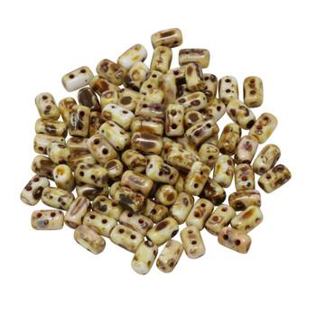 Matubo Czech Glass Rulla Beads -- Chalk Travertine Dark