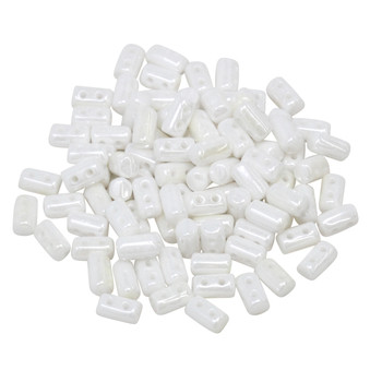 Matubo Czech Glass Rulla Beads -- White Luster