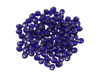 4mm Magatamas -- Cobalt / SIlver Lined