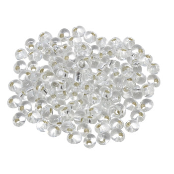 4mm Magatamas -- Crystal / Silver Lined