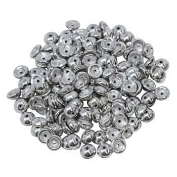 Czech Glass Teacup Beads -- Silver