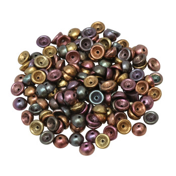 Czech Glass Teacup Beads -- Metallic Bronze Iris Matte