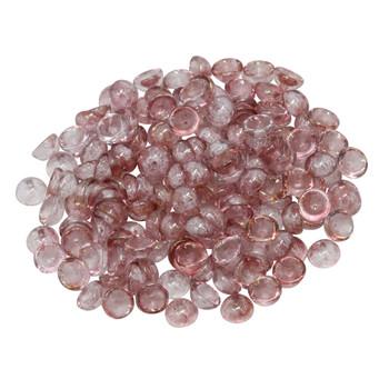 Czech Glass Teacup Beads -- Transparent Topaz / Pink Luster