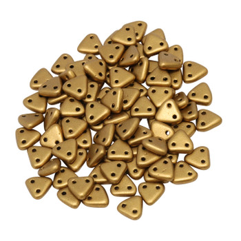 CzechMates® Triangle Beads -- Metallic Goldenrod Matte