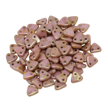 CzechMates® Triangle Beads -- Opaque Rose Gold Topaz Luster