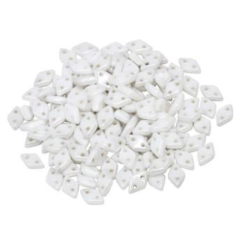 CzechMates® Diamond 2 Hole Beads -- Opaque White Luster