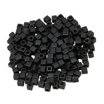 3mm Miyuki Cube Seed Beads -- Black Matte