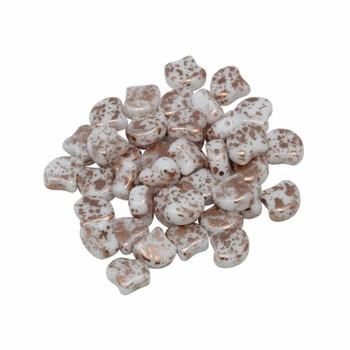 Matubo Czech Glass Ginkgo Leaf Beads -- White / Copper Splash
